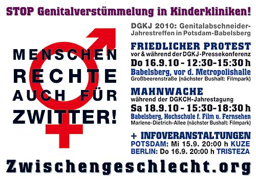 Proteste gegen Genitalabschneider-Jahrestreffen DGKJ 2010, Potsdam 16.+18.9.